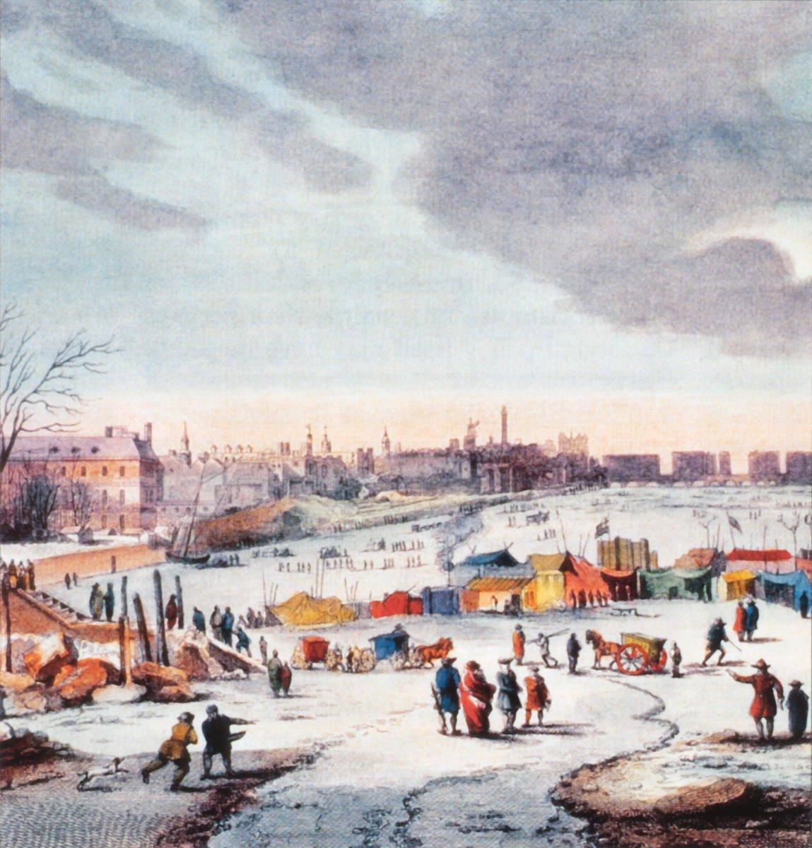1683-1684年間泰晤士河結冰景象。(維基百科/Thomas Wyke)