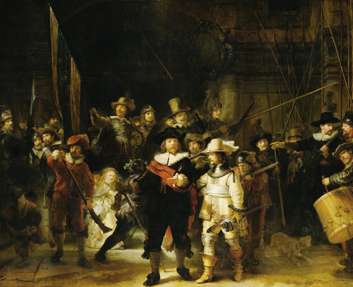 林布蘭的名作《夜巡》,以戲劇舞台式的用光方式,來實現明暗對比的繪畫效果。