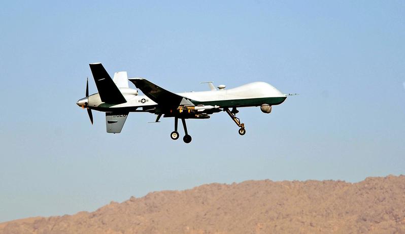 美國無人機襲擊巴基斯坦塔利班據點,擊斃其副首腦。周一,巴基斯坦塔利班恐怖組織證實了這一消息。本圖的MQ-9無人機攝於2009年3月13日,阿富汗坎大哈美國空軍基地。(USAF/AFP)