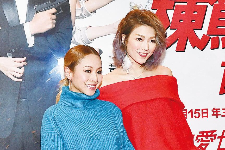鄭融(左)與連詩雅悉心打扮出席首映禮。(郭威利/大紀元)