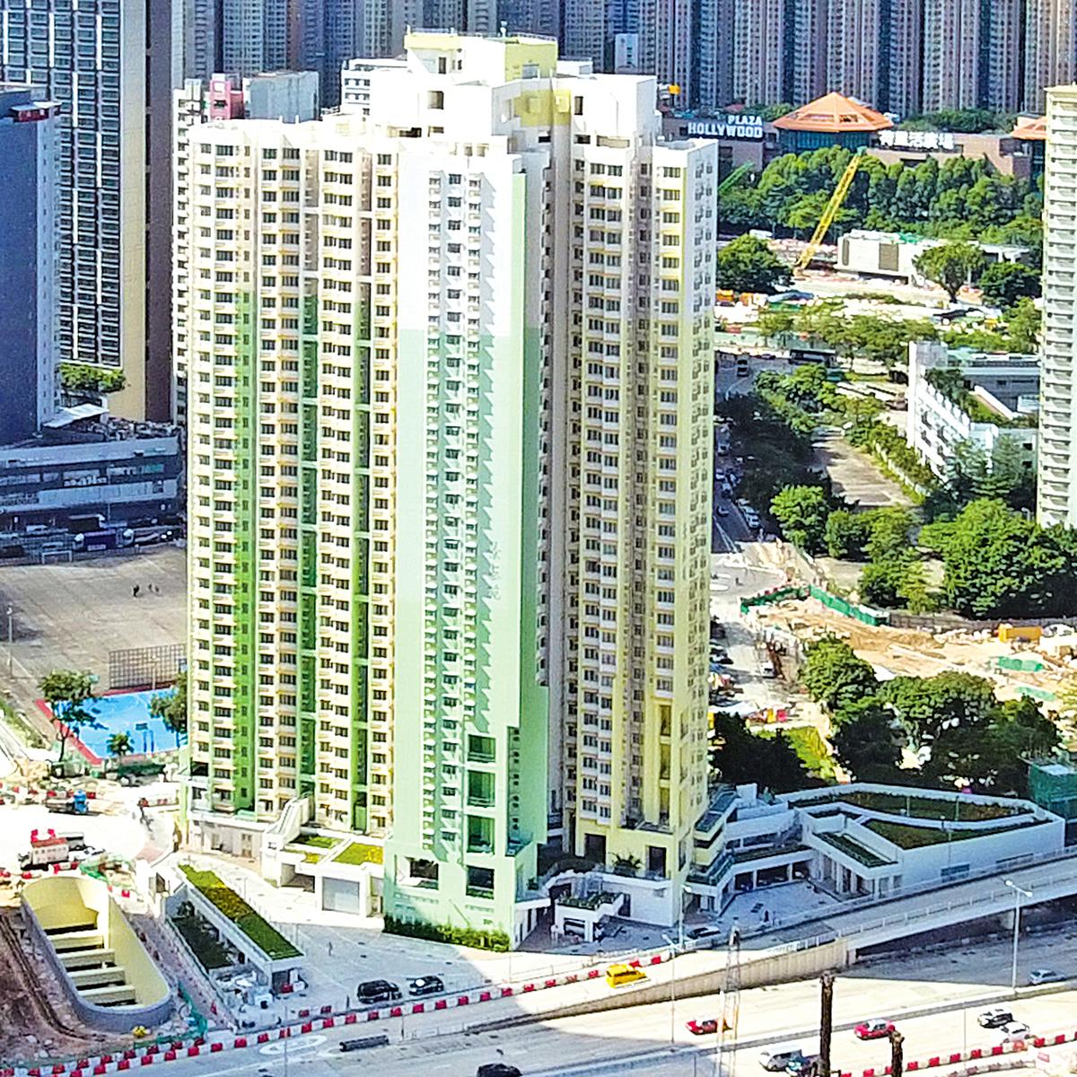 位於新蒲崗至今唯一綠置居項目「景泰苑」。(Wpcpey/維基百科)