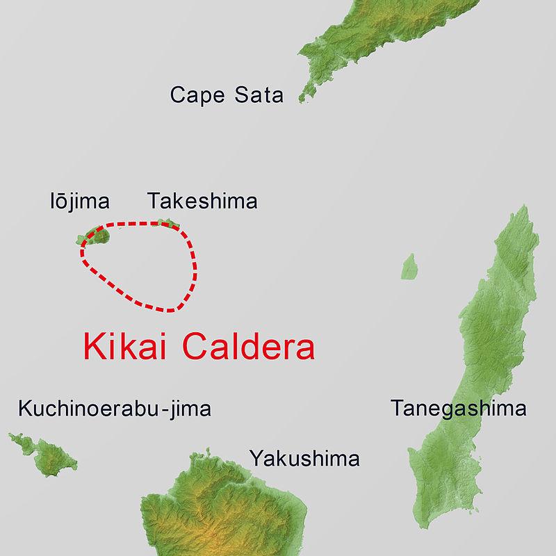 鬼界破火山口的地理位置。(維基百科)