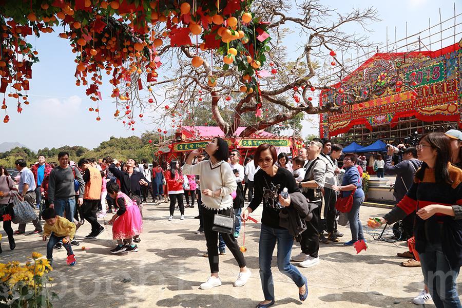 大批市民在大年初一到林村許願樹拋寶牒。(陳仲明/大紀元)
