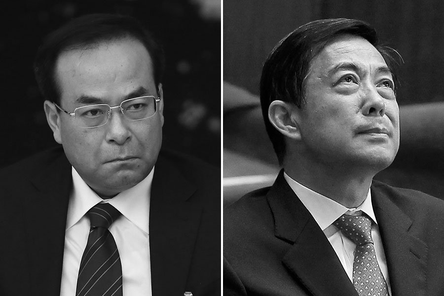 陳敏爾接任重慶市委書記後,多次強調要清除孫政才(左)、薄熙來(右)的影響和遺毒。(Getty Images/大紀元合成)