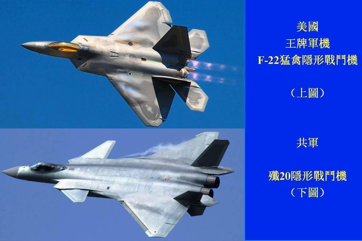 美軍F-22隱形戰鬥機與中共殲20戰鬥機的對比。(維基百科)