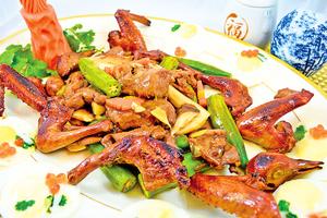 【梁廚美食】秋葵鮮菇炒乳鴿肉