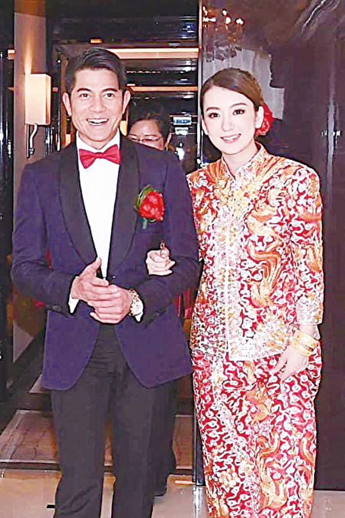 藝人郭富城(左)去年迎娶大陸網紅方媛(右)。(郭富城微博)