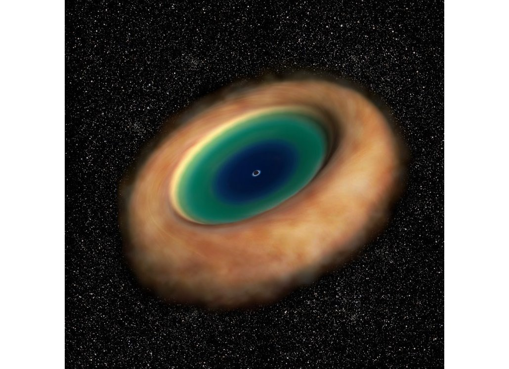 天文學家發現,M77螺旋星系內的黑洞外有個大型的環狀結構,猶如「甜甜圈」。此為藝術家所繪製的示意圖。(ESO/NAOJ/NRAO)