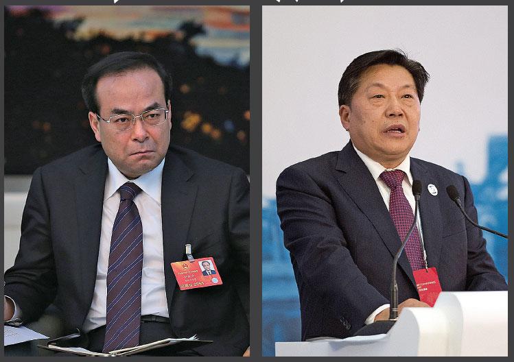 (左)2月13日,前政治局委員、前重慶市委書記孫政才涉嫌受賄案被提起公訴。 (右)2月13日,前中宣部副部長、前中央網信辦主任魯煒被「雙開」、立案審查。(Getty Images)