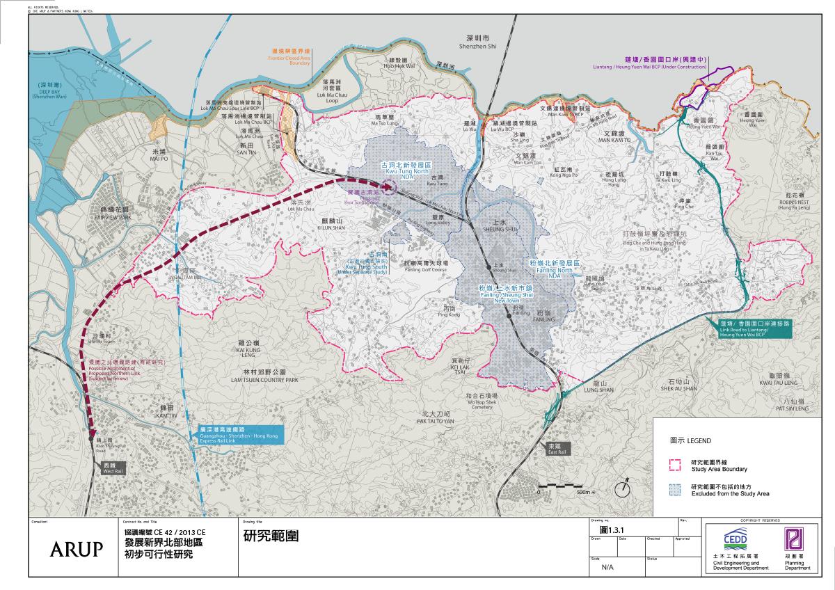 圖為發展新界北部地區初步可行性研究的範圍。(規劃署文件擷圖)
