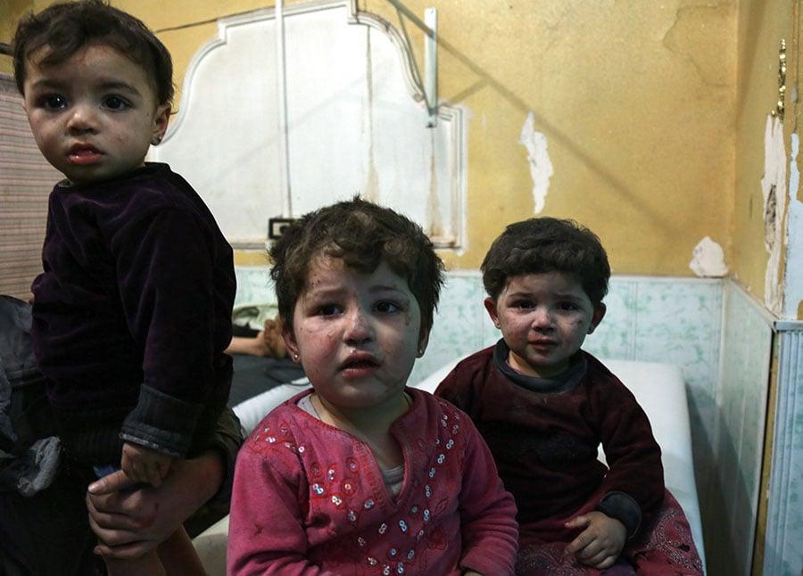 無辜的孩童。(HAMZA AL-AJWEH/AFP/Getty Images)