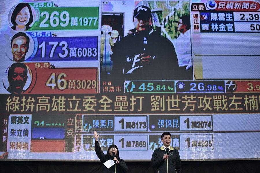 學者分析,台灣政黨為了選舉殺紅了眼,中共政權就利用選舉期間從中操作對其友好的民間團體、媒體或政治人物。圖為台灣大選開票結果。(PHILIPPE LOPEZ/AFP/Getty Images)