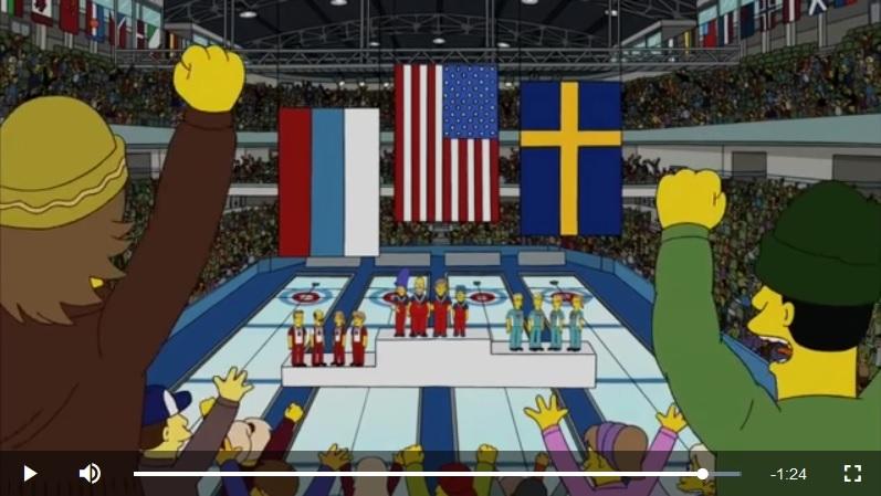 在《阿森一族》第21季第12集節目中,美國隊贏得冬季奧運會冰壺比賽的冠軍。(視像擷圖)