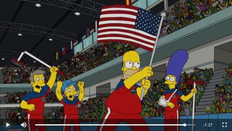 荷馬在贏得比賽後揮舞美國國旗。(視像擷圖)