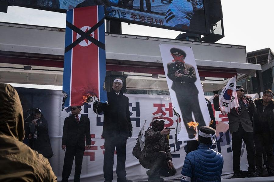 北韓金英哲抵韓 「天安艦」遺屬舉行抗議活動