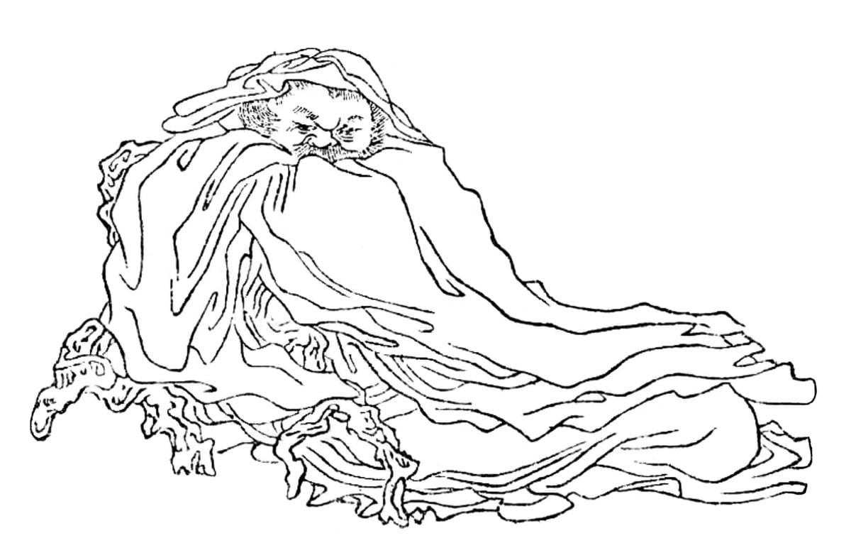 《晚笑堂竹莊畫傳》中的孟浩然。(公有領域)