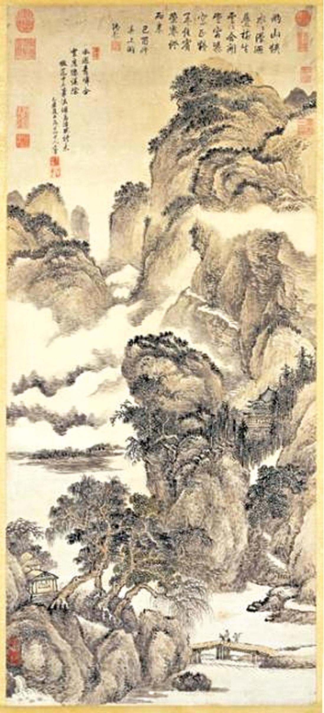 清王翬畫孟浩然詩意,現藏台北故宮博物院。(公有領域)