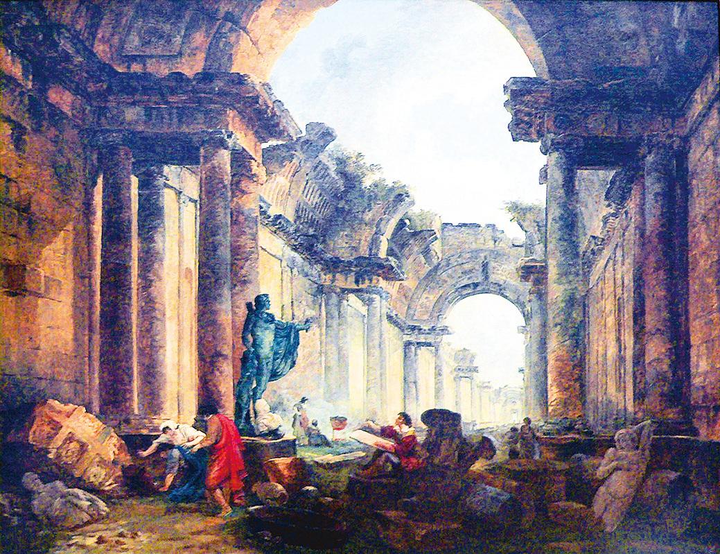 《浩劫中的羅浮宮大畫廊幻想圖》法國巴黎畫家羅伯特 (Hubert ROBERT 1733~1808) 作於1796年。畫家描繪了預感中羅浮宮遭受浩劫的夢幻情形,在75年後成真,宮殿和大量藝術珍品被巴黎公社焚燒。羅浮宮的花廊和馬爾贊長廊被焚燬,但幸好主體建築無恙。(公有領域)