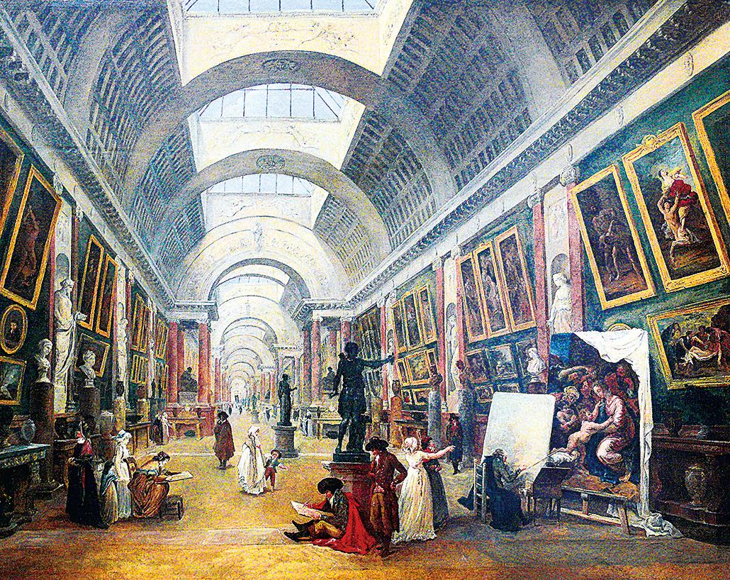 1796年法國巴黎畫家羅伯特 (Hubert Robert 1733~1808) 的繪畫展示了巴黎羅浮宮博物館的大畫廊設計。(公有領域)