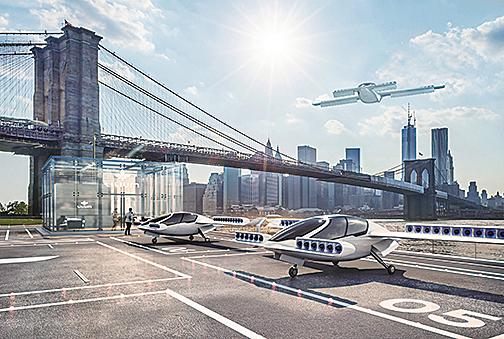 垂直起降飛車可以平穩的水平飛行。(Lilium公司網站)