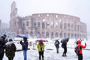 歐洲低溫創紀錄 羅馬6年來首降雪