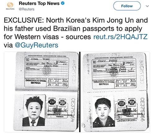路透社登出金正日父子的巴西護照影印本。(路透社推特截圖)