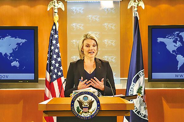 美國國務院發言人諾爾特(Heather Nauert)27日表示,美國參與對話的條件是北韓實現無核化。(資料圖片)