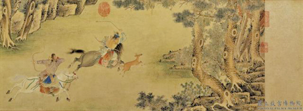 皇子們參加拉練活動,就連最小的皇子也和大家一起狩獵,都能獨立的張弓搭箭,巡射獵物。圖為明仇英《秋獵圖》。(公有領域)