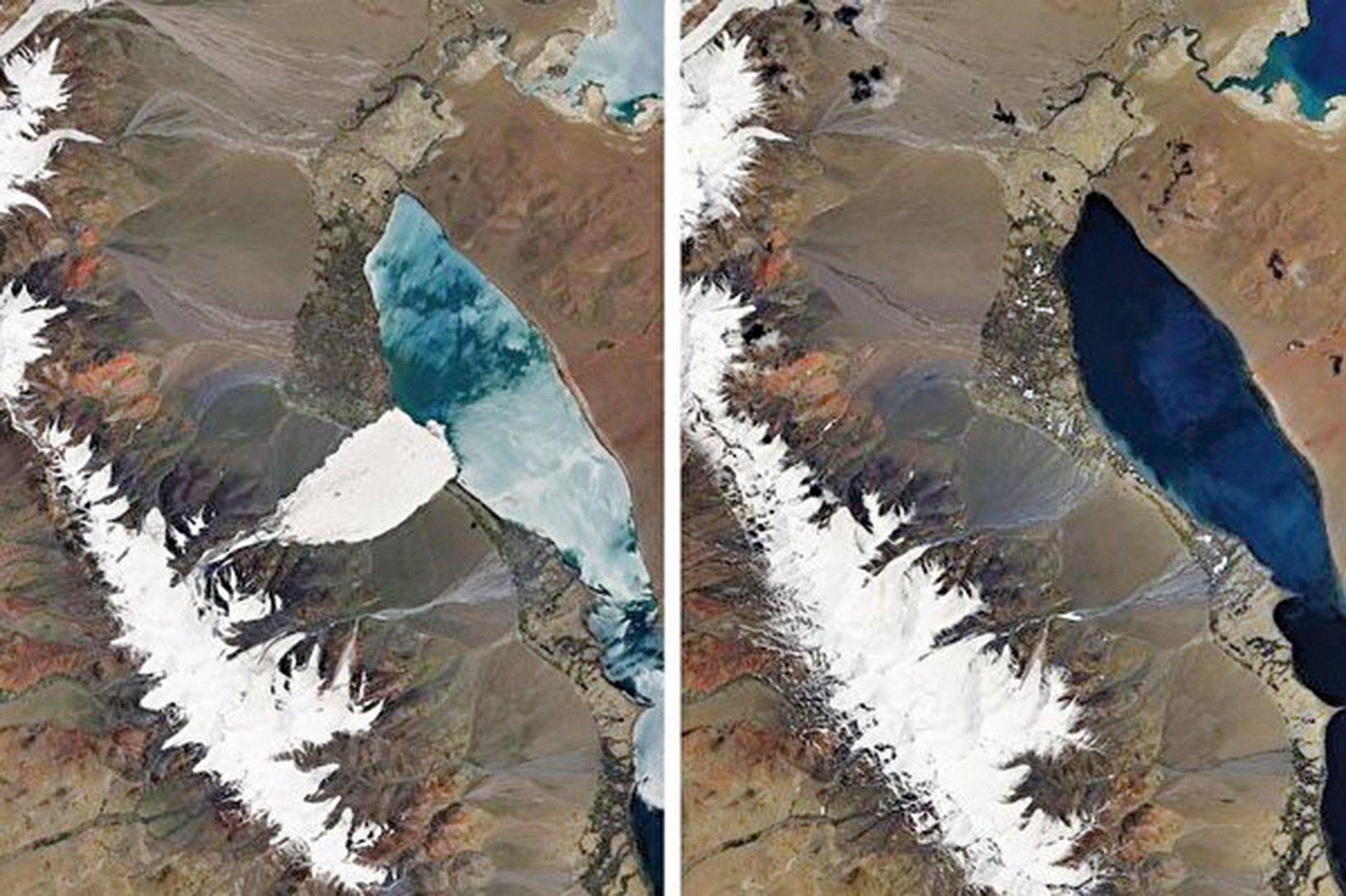 科學家們擔憂,阿里地區的兩次冰崩可能是西藏高原氣溫上升後一系列災害的開始。圖左是2016年7月的衛星圖像,表明其中一次雪崩的後果。圖右攝於2016年6月,是兩次冰川崩塌前的情景。(NASA EARTH OBSERVATORY)