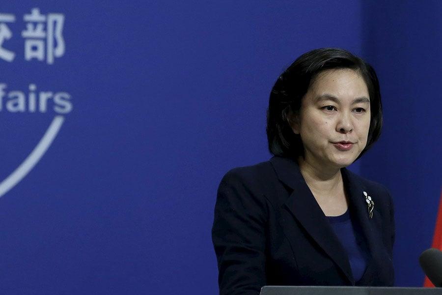 隱身一個月後,華春瑩3月1日下午在中共外交部例行記者會上露面時,台下媒體低聲發出驚呼。圖為資料圖片。(大紀元資料室)