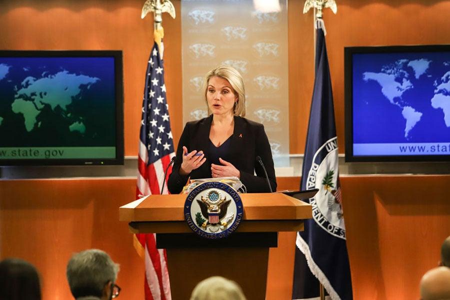圖為美國國務院發言人希瑟・諾爾特在記者會上的資料圖片。(Alex Wroblewski/Getty Images)