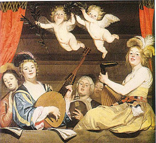 天使與樂 Concert on a Balcony,1624 by Gerrit van Honthorst Utrecht, 1590-1656.,168x178cm,羅浮宮藏。(新紀元資料室)