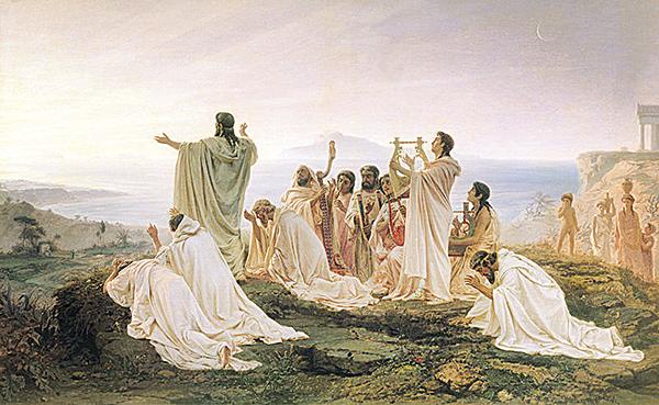 畢達哥拉斯主義者慶祝日出,Fyodor Bronnikov作。(新紀元資料室)
