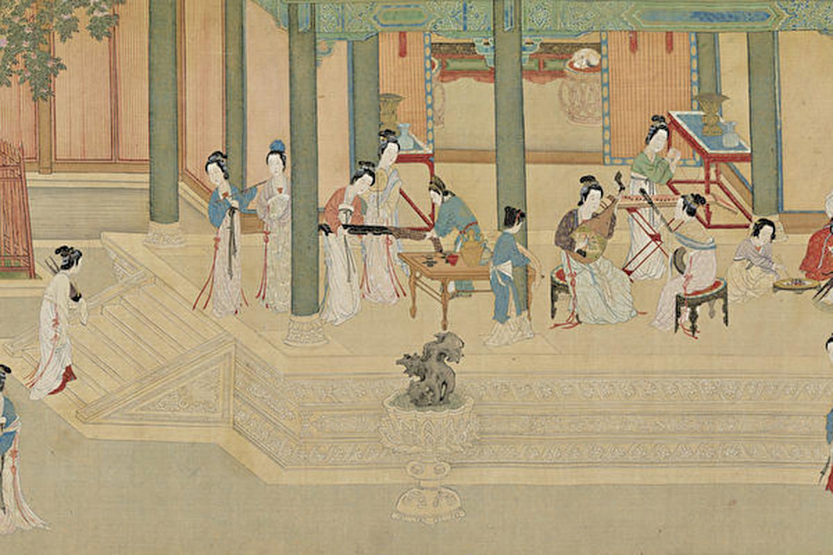 明 仇英〈漢宮春曉〉局部(國立故宮博物院 藏)