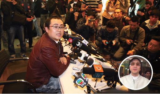 綽號「上海仔」的江湖人物郭永鴻,原定於昨日中午開記者會,聲稱會反駁傳媒報道,以及講述2012年特首選舉期間涉梁振英向黑道拉票的「江湖飯局」情況,吸引近百名記者到場。但負責記者會的公關公司負責人林子斌臨時宣佈記者會取消,並表示收到律師信。(潘在殊/大紀元、東網視頻截圖)