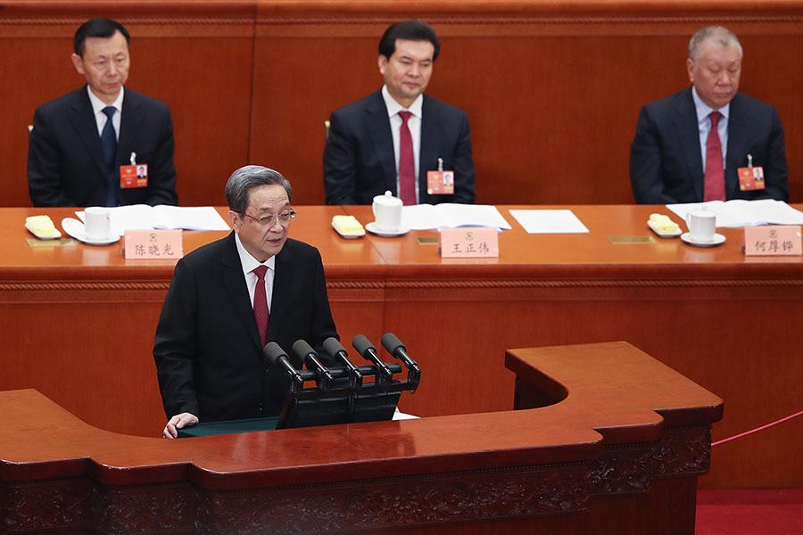 3月3日,中共政協主席俞正聲作工作報告。(Lintao Zhang/Getty Images)