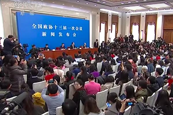 十三屆全國政協記者會,政協發言人王國慶回應「銳實力」激烈,惹外界批評。(視像擷圖)