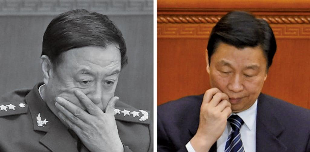 中共全國政協會議開幕當天,醜聞纏身的中共國家副主席李源潮(右)、軍委副主席范長龍(左)同時出席了會議。(Getty Images/大紀元合成圖)