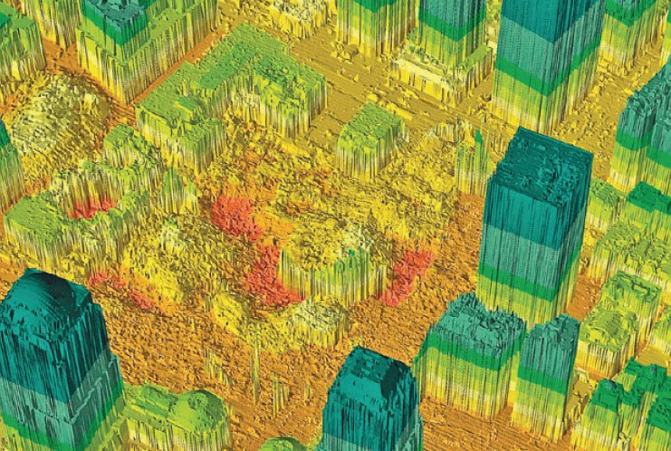 激光測繪技術(LiDAR)能夠「看穿」茂密的叢林樹冠,對地表地形提供高精確度的3D測繪。圖為紐約曼哈頓世貿遺址的激光測繪圖。(NYC Office of Emergency Management/Getty Images)