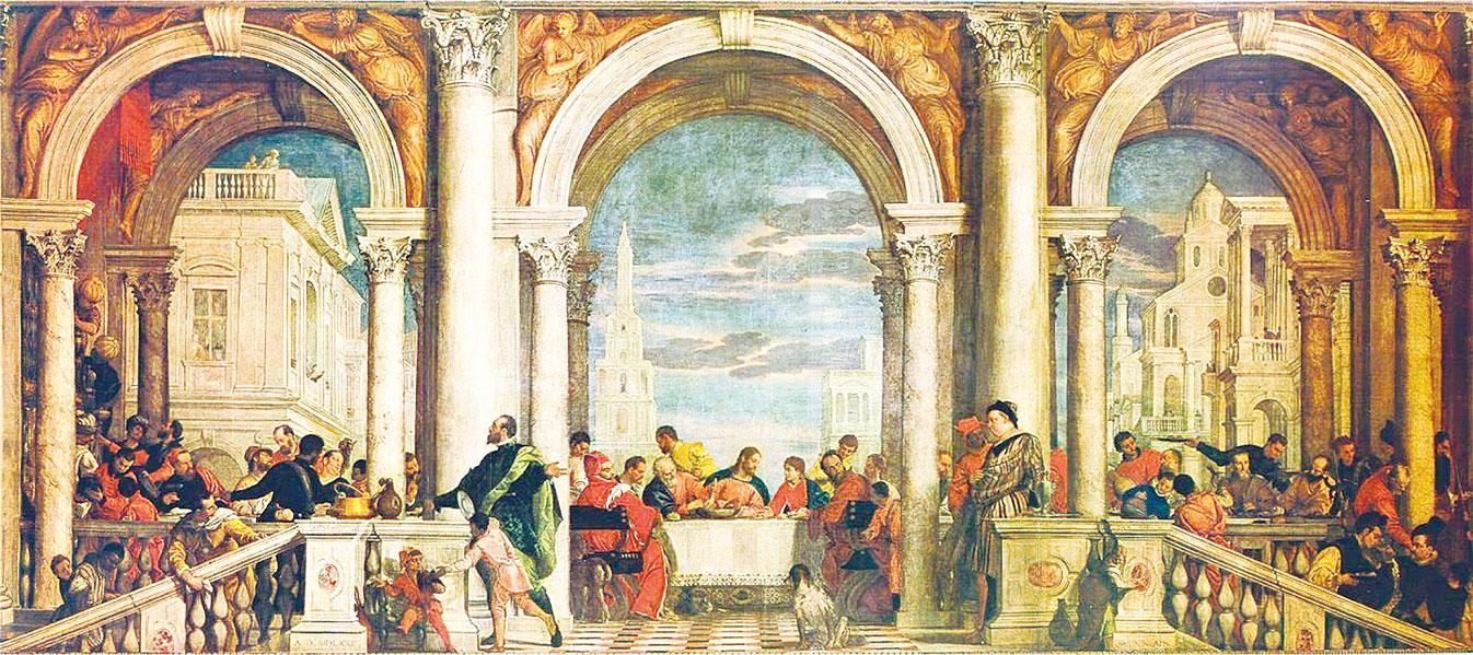 Paolo Veronese代表作《利未家的宴會》(Banquet in the house Levis) ,此畫描述了《聖經》中耶穌揭穿猶大偽善面目的「最後的晚餐」的情景。