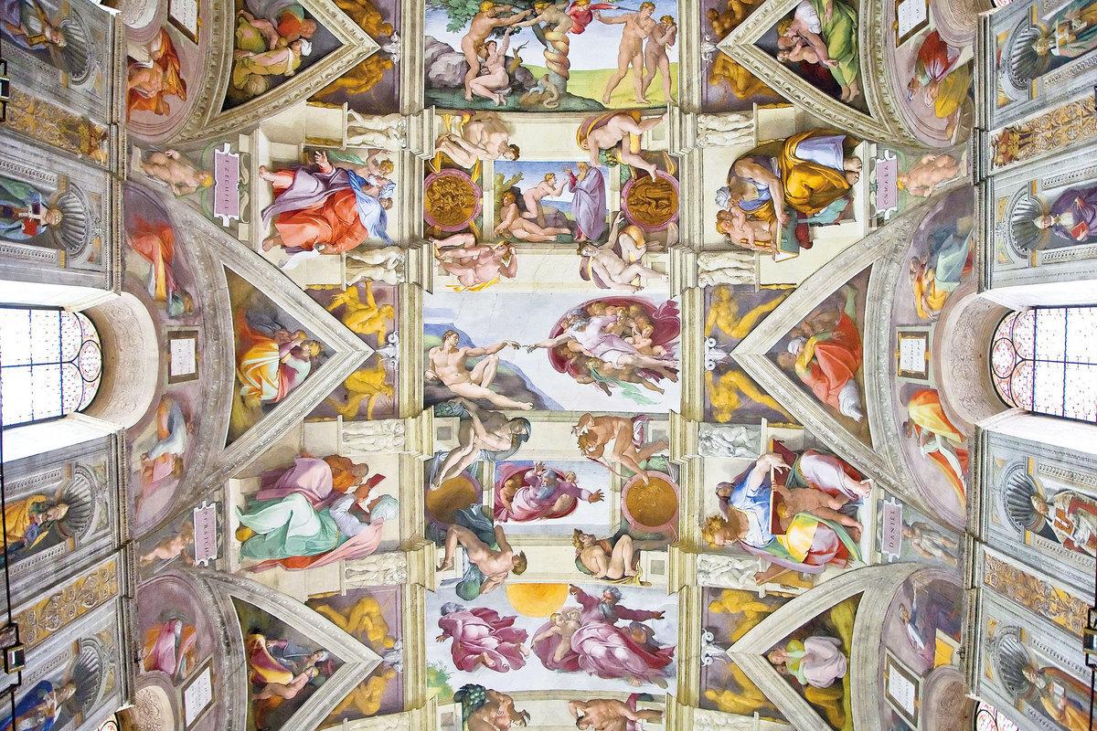 米高安哲羅為梵蒂岡西斯汀禮拜堂拱頂所畫的濕壁畫《創世紀》。(網絡圖片)