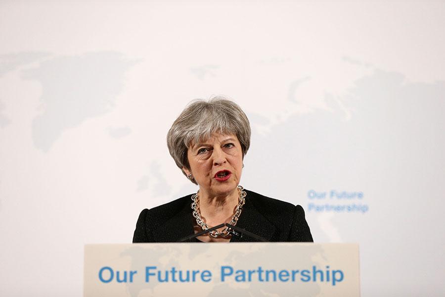 英國首相文翠珊在上周五(3月2日)的一次重要演講中表示,英國將遵守歐盟市場的高標準,並希望與歐盟達成貿易協議。(JONATHAN BRADY/AFP/Getty Images)