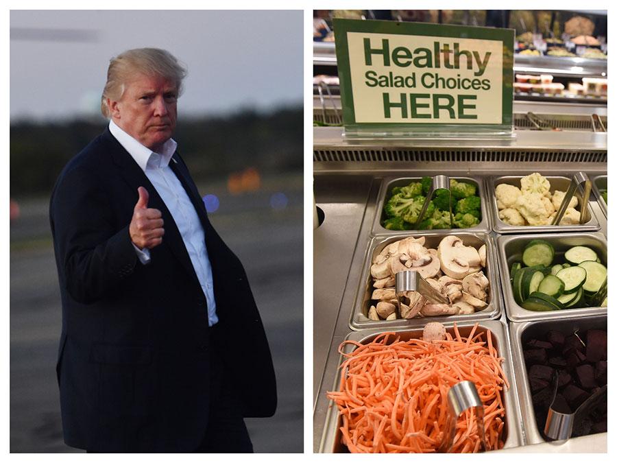 喜歡吃肉的美國總統特朗普最近似乎聽從醫師的建議,改吃芝士漢堡及沙律。(NICHOLAS KAMM/AFP/Getty Images、ROBYN BECK/AFP/Getty Images/大紀元合成圖)