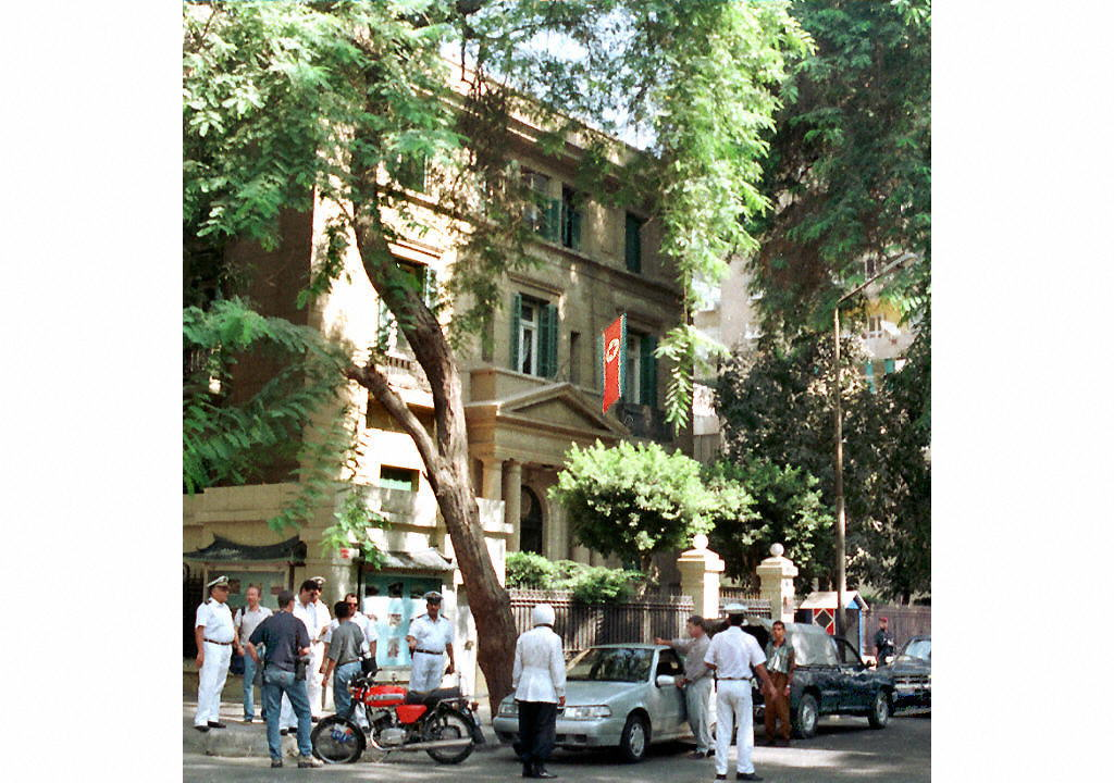 北韓駐開羅大使館,攝於1997年8月。(MOHAMMED AL-SEHITI/AFP)