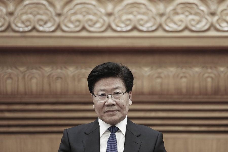 中共前政治局委員張春賢,2016年被貶到中共黨建,去年被踢出政治局,今年料被貶到中共全國人大。(Lintao Zhang/Getty Images)