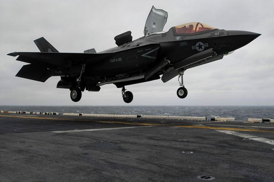 2018年3月5日,美國新一代F-35B戰機首次部署在印度—太平洋區域的戰艦上。(U.S. Navy)
