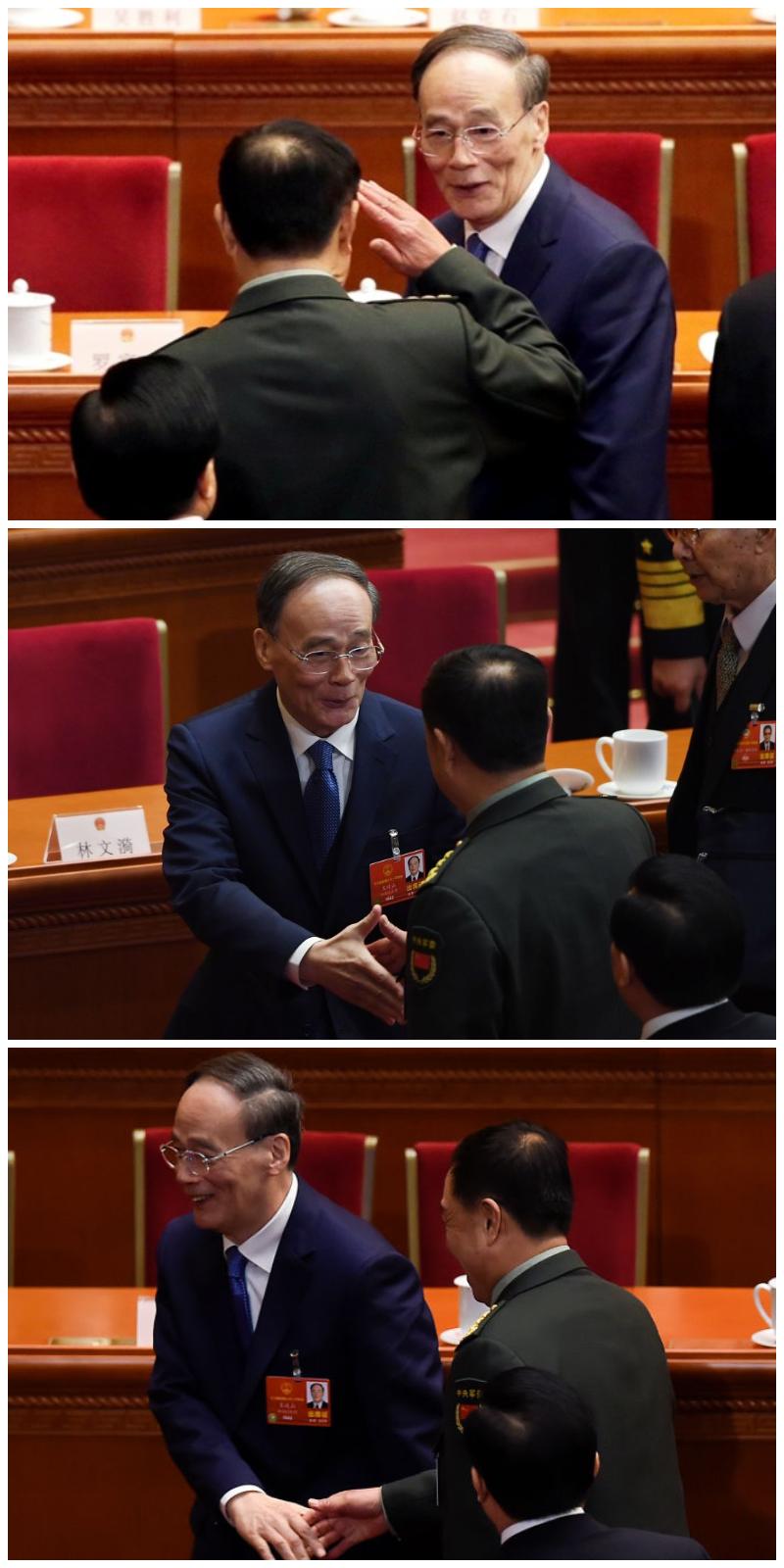 傳出被調查的軍委副主席給「回歸」的王岐山行軍禮。(Getty Images/推特合成圖)