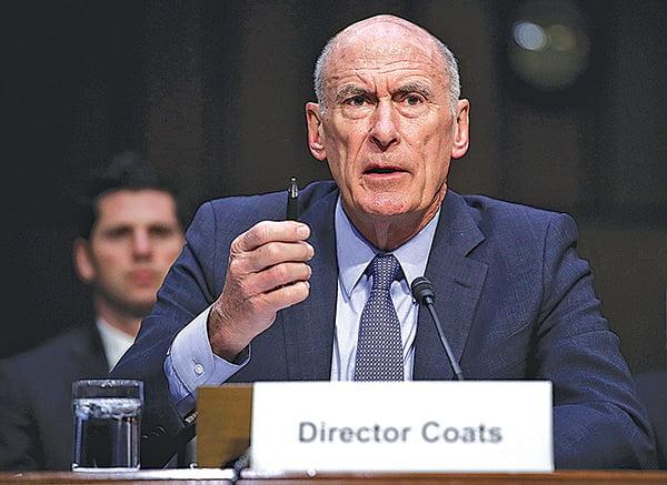 美國國家情報總監科茨3 月6 日出席參議院聽證會。(G e t ty Images)