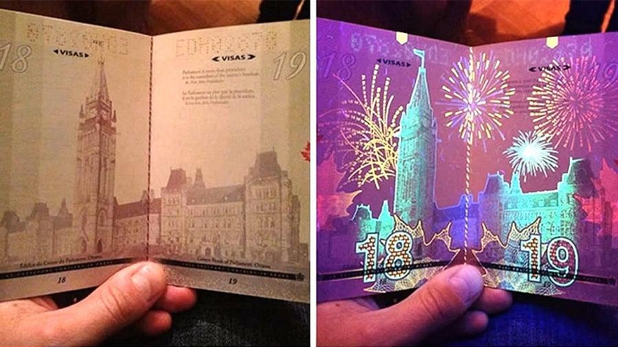 加拿大護照在紫外線燈下絢麗多彩。(視像擷圖)