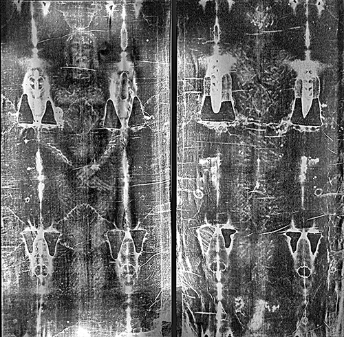 都靈聖體裹屍布全長「負像」底片。(維基百科)